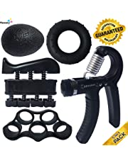ProHand Premium Quality Hand Grip Strengthener Exercise Set (5-in-1 pack) - Adjustable Resistance Hand Gripper 5-60 KG, Finger Exerciser, Finger Stretcher, Grip Ring and Squeeze Stress Ball - Optimises Hand Strengthening Workout - Hand Rehabilitation - Enhances Hand Flexibility - Relieves Joint Pain, ProHand 100% Money Back Lifetime Guarantee