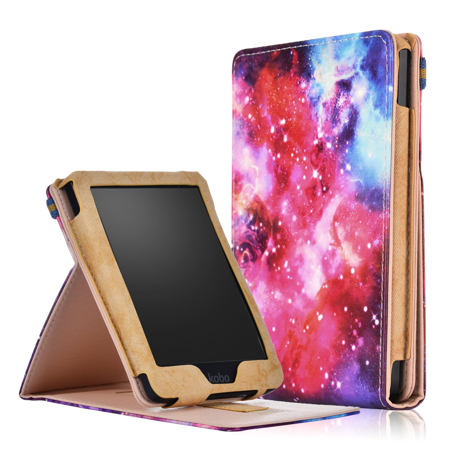 Kobo Ereader Clara HD Case, Gylint Premium Leather Business Slim Folding Stand Folio Cover with Auto Wake/Sleep Multiple Viewing Angles for Kobo Ereader Clara HD 6.0i Tablet (Painting)