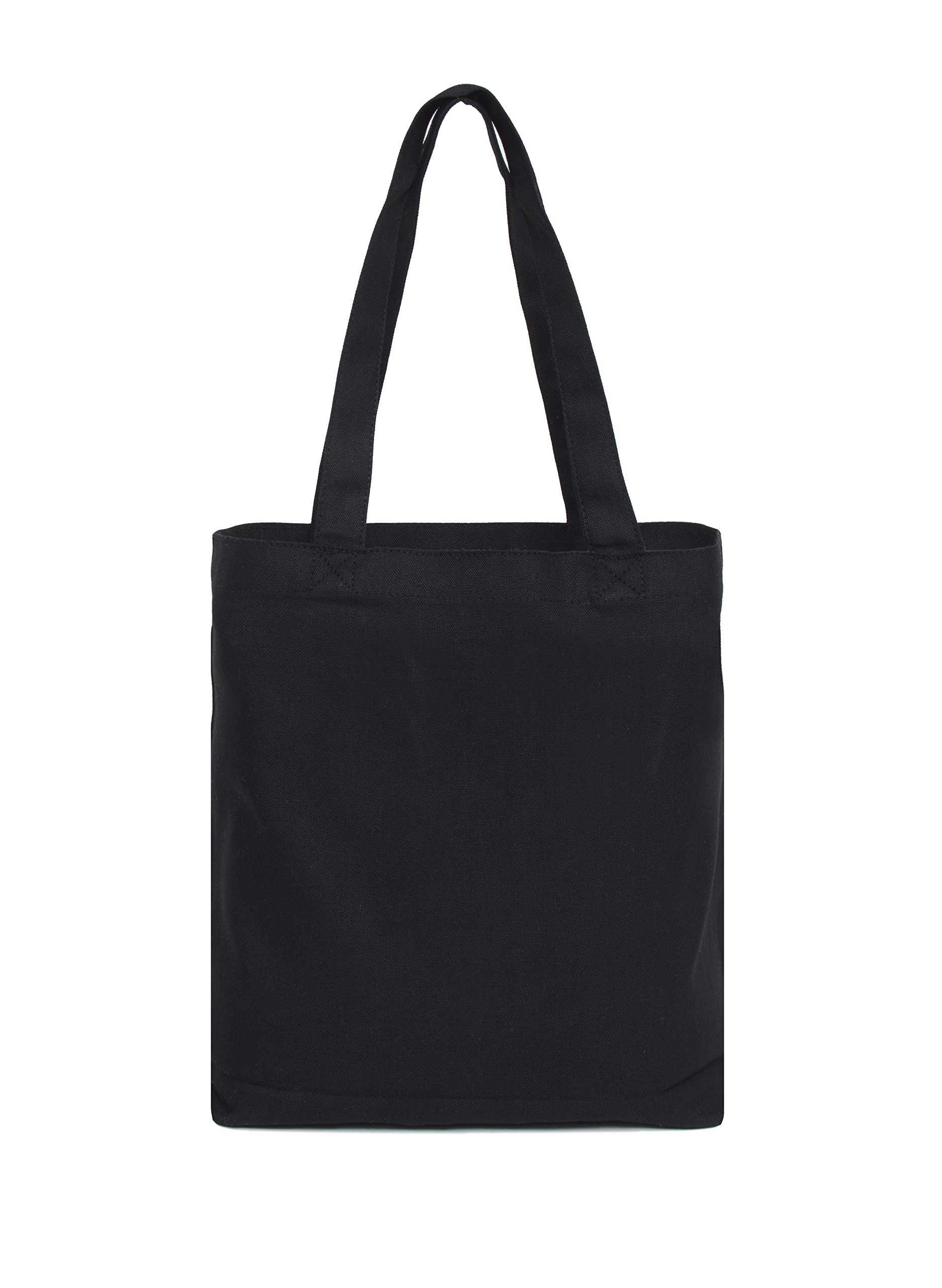 Set of 12 - Medium Tote Bag 14x13x3'', Black, 100% Cotton Canvas by Bumble Crafts (Image #2)