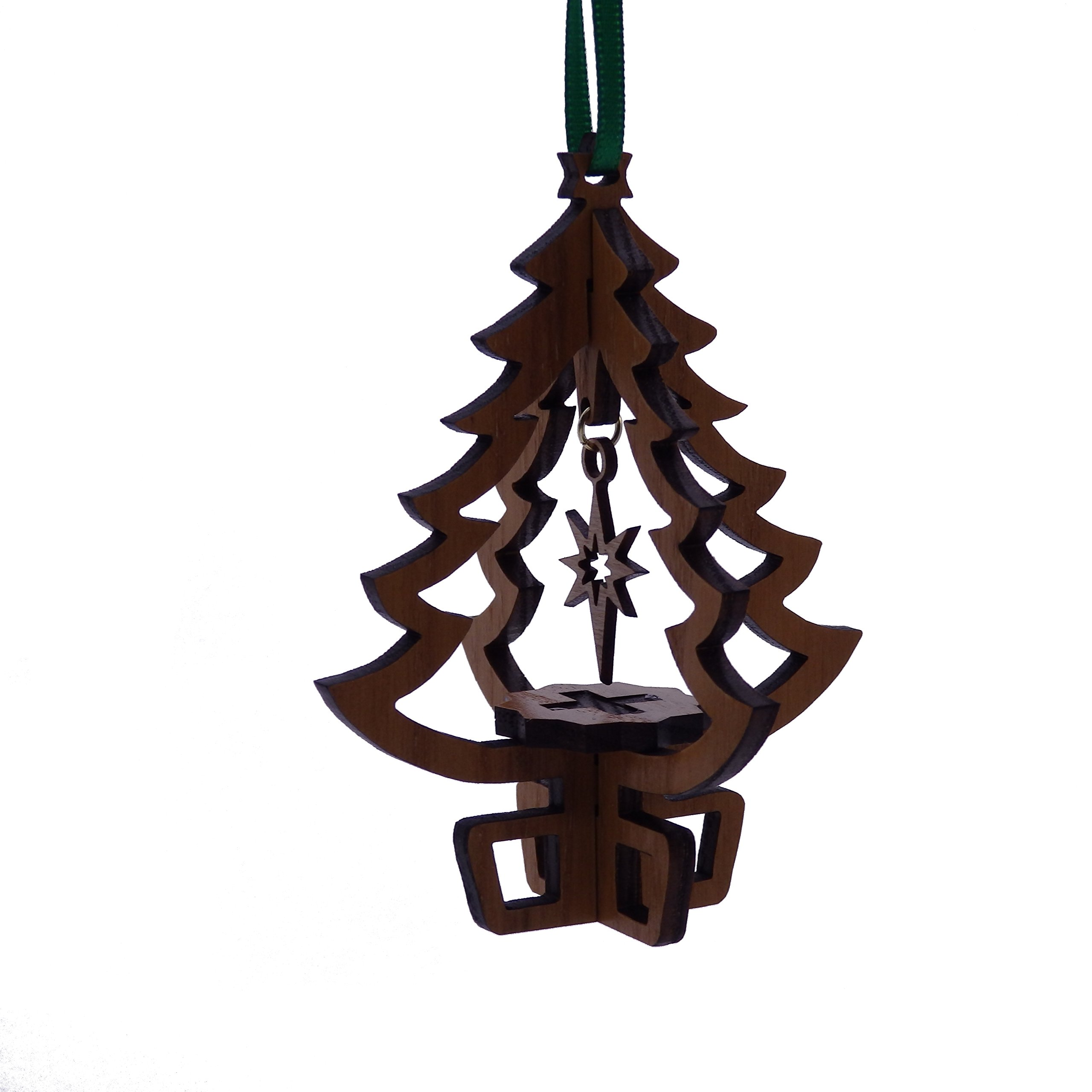Wooden Holiday Tree Ornament with Star - Gift Boxed - Made in maine