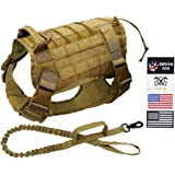 FitPup Tactical Dog Harness and Bungee Dog Leash Set for Medium Large & XL Dogs – K9 Military Molle Vest for Service & Traini