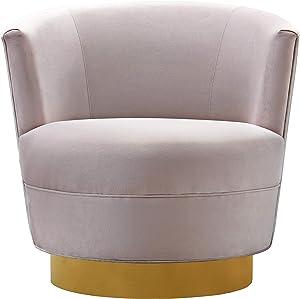 TOV Furniture The Noah Collection Modern Velvet Swivel Accent Chair, Blush