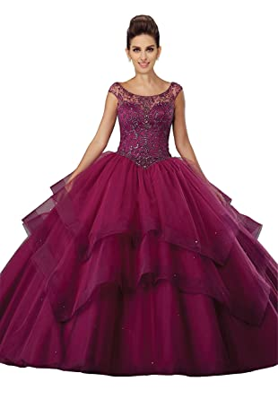 Fannydress Ruffle Quinceanera Dress Cold Shoulder Crystals Beads Sequin Bandage Prom Dresses Burgundy 2