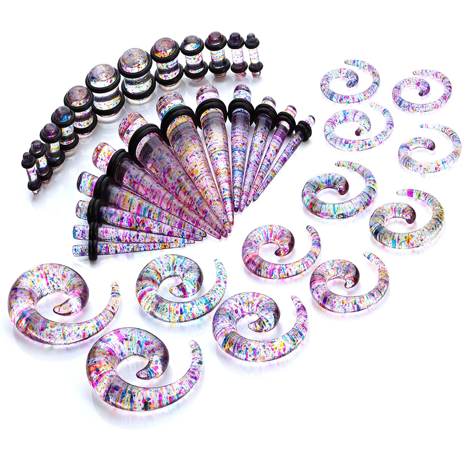 BodyJ4You Gauges Kit Tie Dye Spiral Tapers and Plugs 8G-00G Stretching Kit -18 Pairs