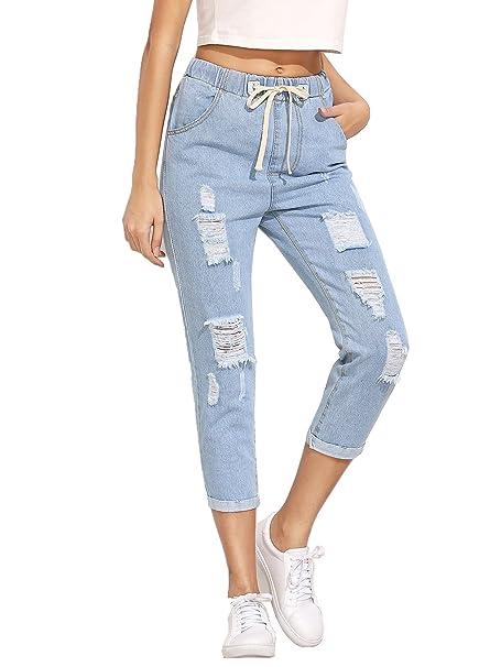 ffa44e117e342 SweatyRocks Women's Juniors Distressed Ripped Drawstring High Waist Capris  Crop Jeans (Large, Light Blue