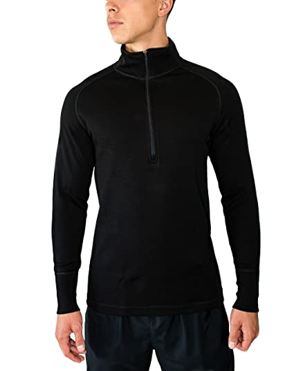 7d69b3a34db8e Woolx Mens Blizzard 1/4 Heavyweight Meirno Wool Base Layer Top For Extreme  Warmth,