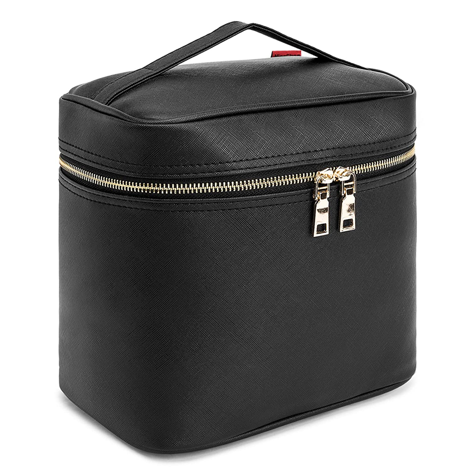 Makeup Bag NiceEbag Travel Cosmetic Bag for Women and Men Cute Cosmetic Case Leather Makeup Case for Cosmetics Make Up Tools Toiletry Jewelry Digital Accessories,Black