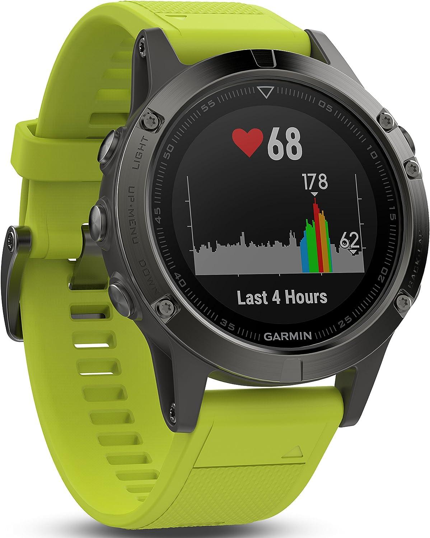 Garmin Fenix 5- Reloj multideporte, con GPS y medidor de frecuencia cardiaca, lente de cristal y bisel de acero inoxidable, 47 mm, Yellow Band