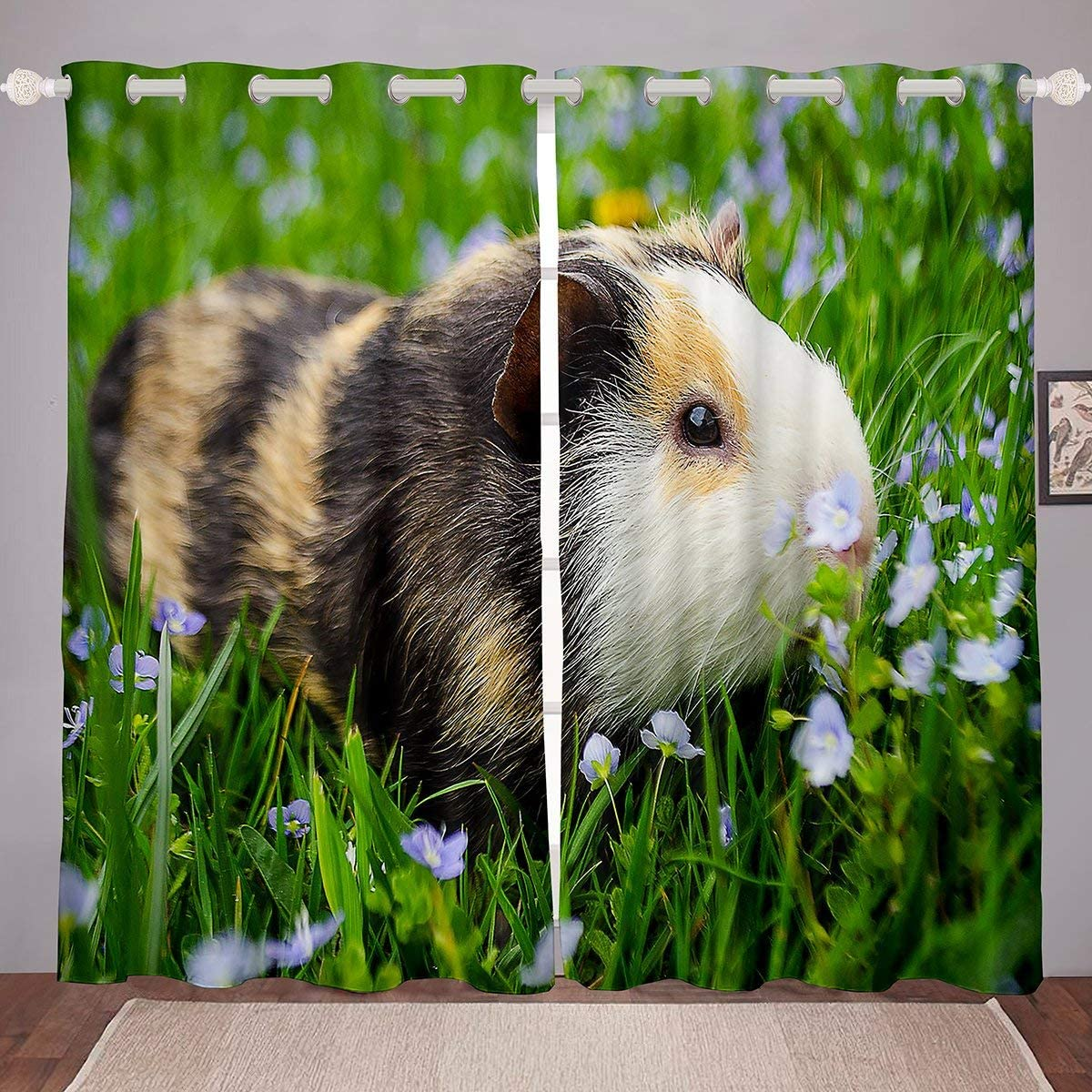 """Guinea Pig Curtain Kids Pet Animal Theme Window Drapes Blackout Cute Cavy Pattern Window Treatments for Boys Teens Girls Bedroom Decor Green Garden Nature Window Curtains Rodent Mouse 84""""x63"""""""