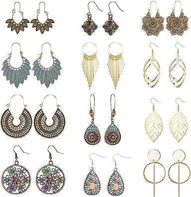 Women Boho Jewelry Trendy Printed Gird Plaid Leather Water Drop Earrings Dangle