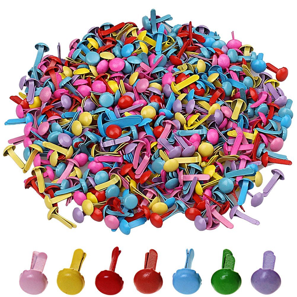 Pengxiaomei 500 Pcs Mini Brads, Metal Brad Paper Fastener for Scrapbooking Craft, Random Colors 4336848063