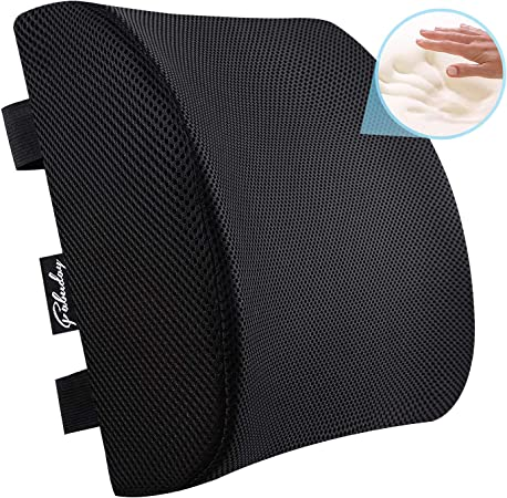 Memory Foam Lumbar Support Back Cushion for Back Pain Relief, Lumbar Support Pillow for Office Chair or Car Seat with Washable Mesh Cover and Dual ...