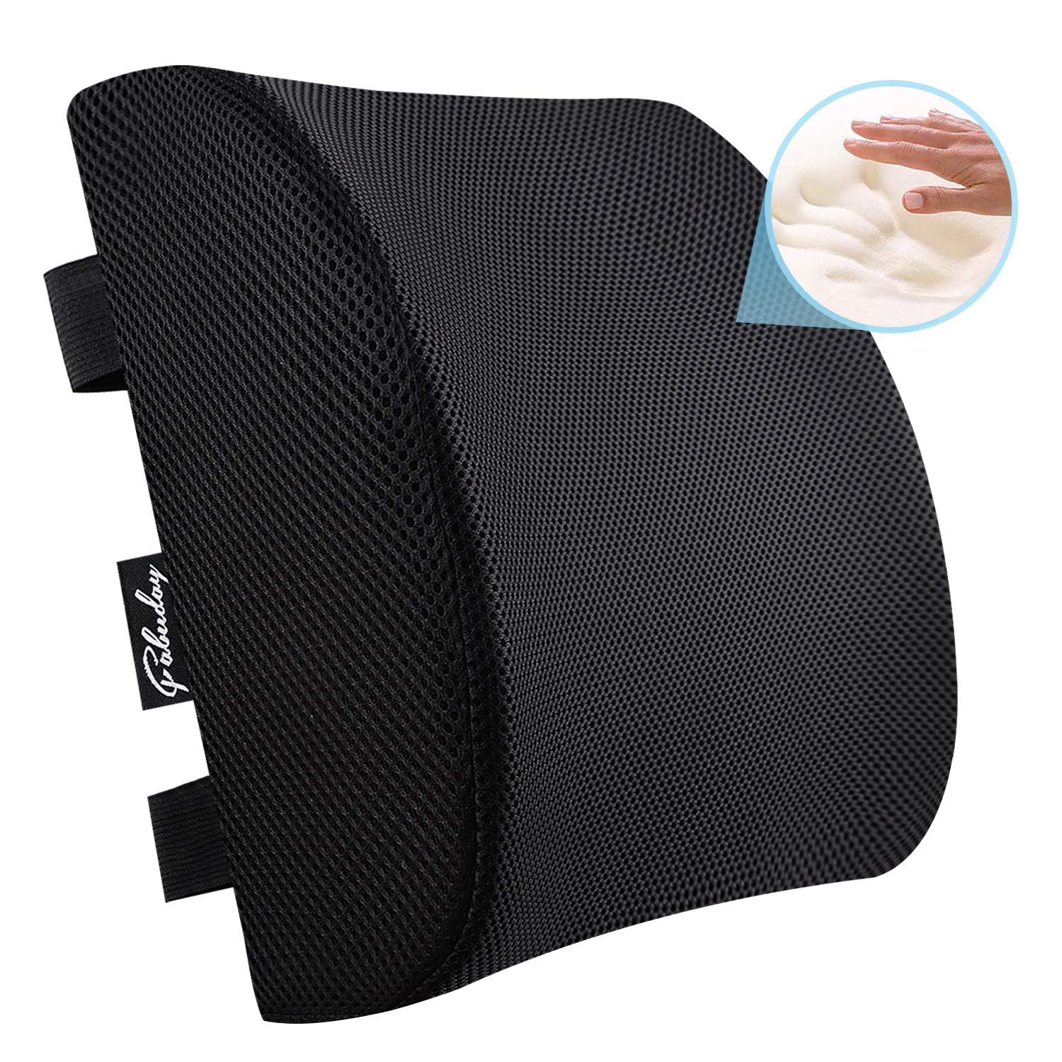 Premium Back Cushion for Office Chair, Car, Wheelchair - Memory Foam Lumbar Support Pillow with Breathable 3D Mesh Cover Adjustable Straps Black