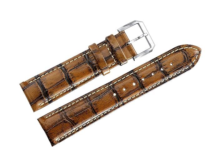 Unique Luxury especial de los hombres de 22 mm cuero de la vendimia pulseras de reloj de bronce antiguo de cocodrilo marrón de grano: Amazon.es: Relojes