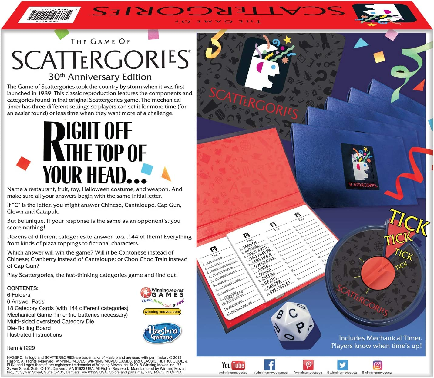 Amazon Com Winning Moves Scattergories 30th Anniversary Edition Brown Toys Games
