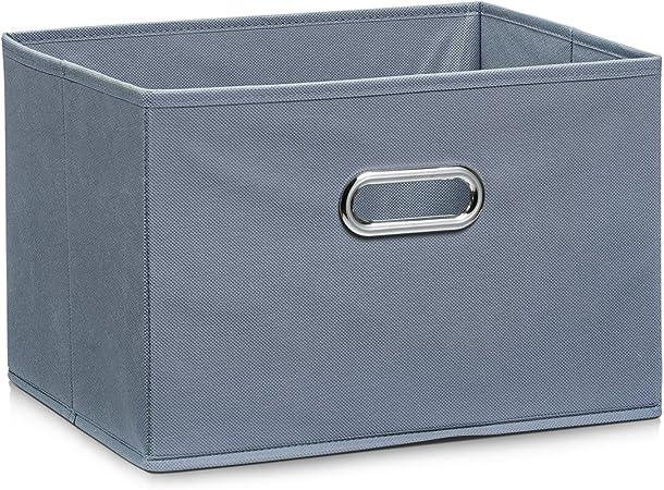 Zeller 14410 - Caja de almacenaje de tela, plegable, 33 x 26 x 22 cm, color gris: Amazon.es: Hogar