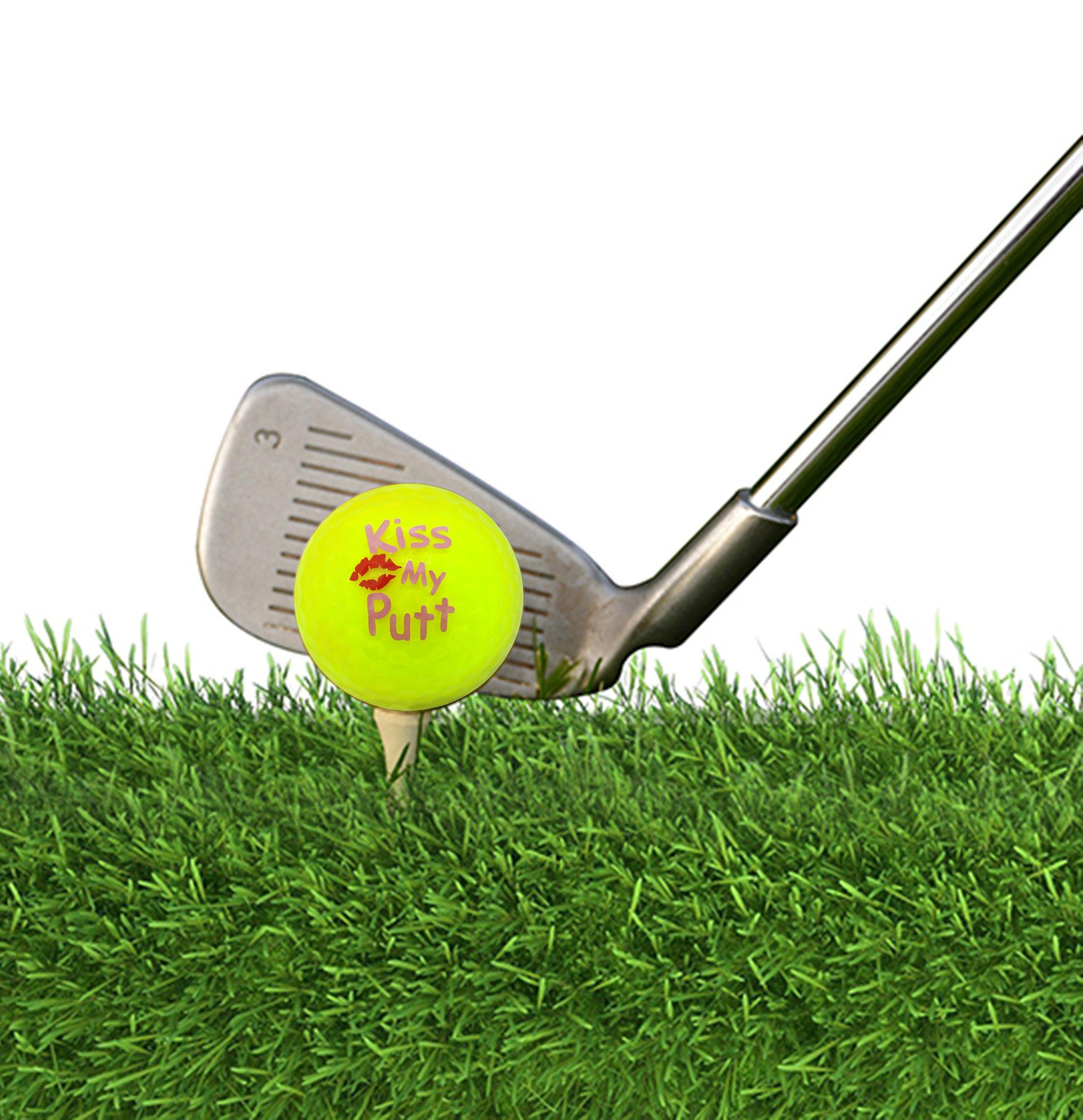 Navika Golf Balls- Kiss My Putt Imprint on Neon Yellow High Visibility Color (3-Pack)