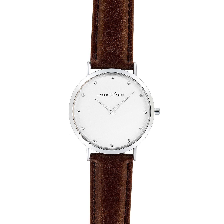 Andreas Osten (Oste) Damen Silber LÜnette braun Leder Armbanduhr A0–30
