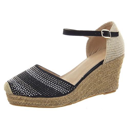 Sopily - Zapatillas de Moda alpargatas Sandalias Zapatillas de plataforma Caña baja mujer acabado costura pespunte