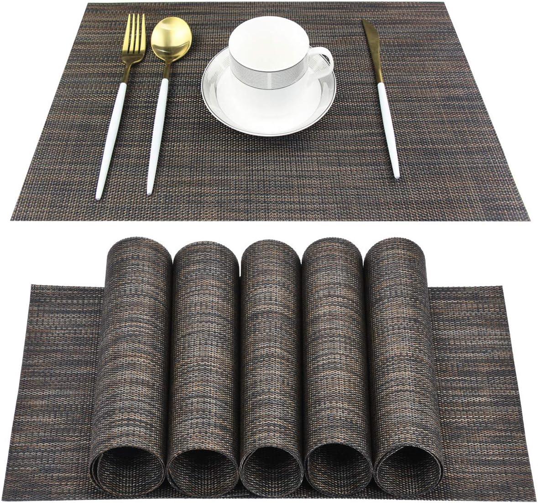 Juego de 6 manteles individuales para mesa de comedor lavable de PVC tejido mantel de vinilo antideslizante resistente al calor, fácil de limpiar (café)