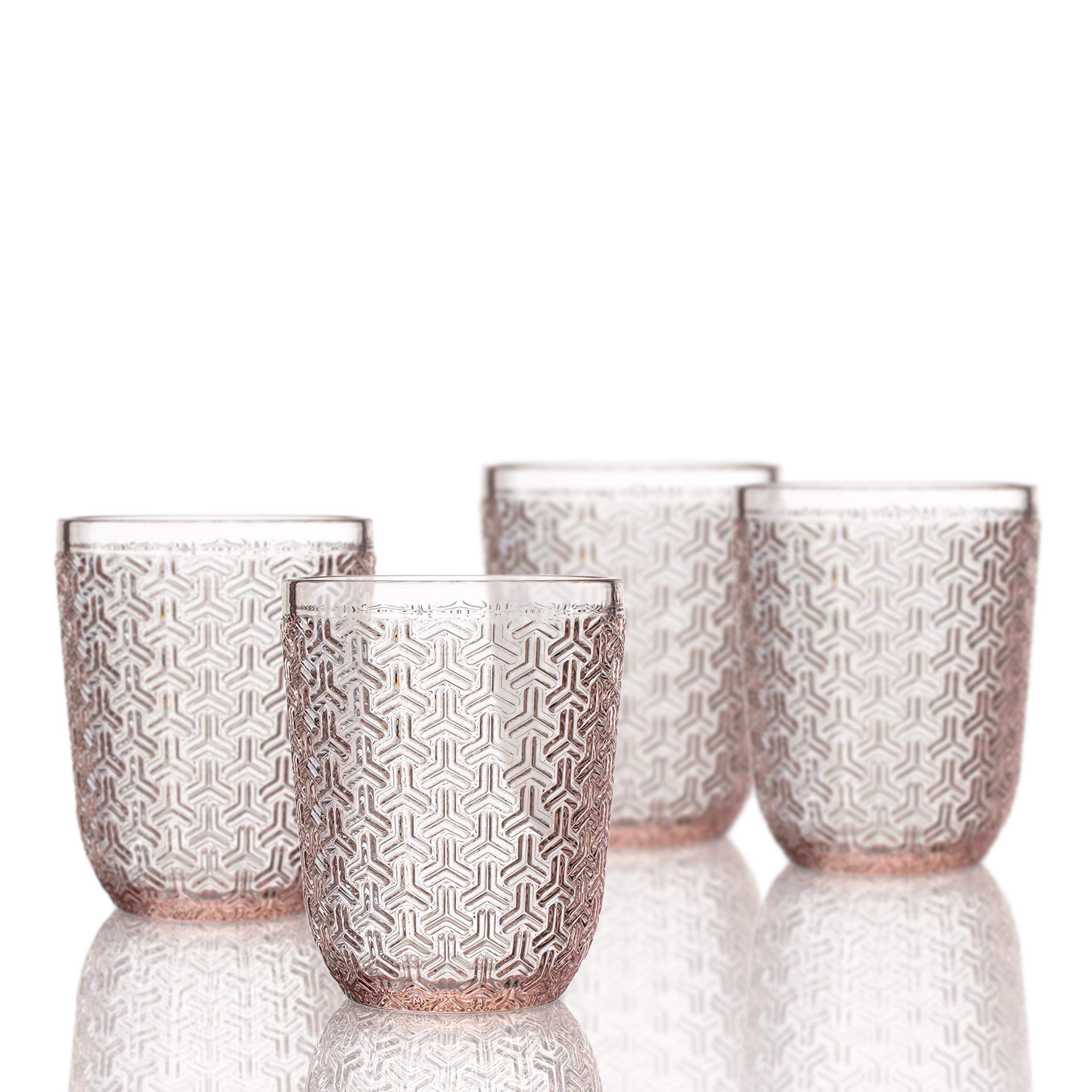 Elle Decor 229806-4OFPU Bistro Key 4 Pc Set Old Fashion, Pink-Glass Elegant Barware and Drinkware, Dishwasher Safe, 10.8 Oz,
