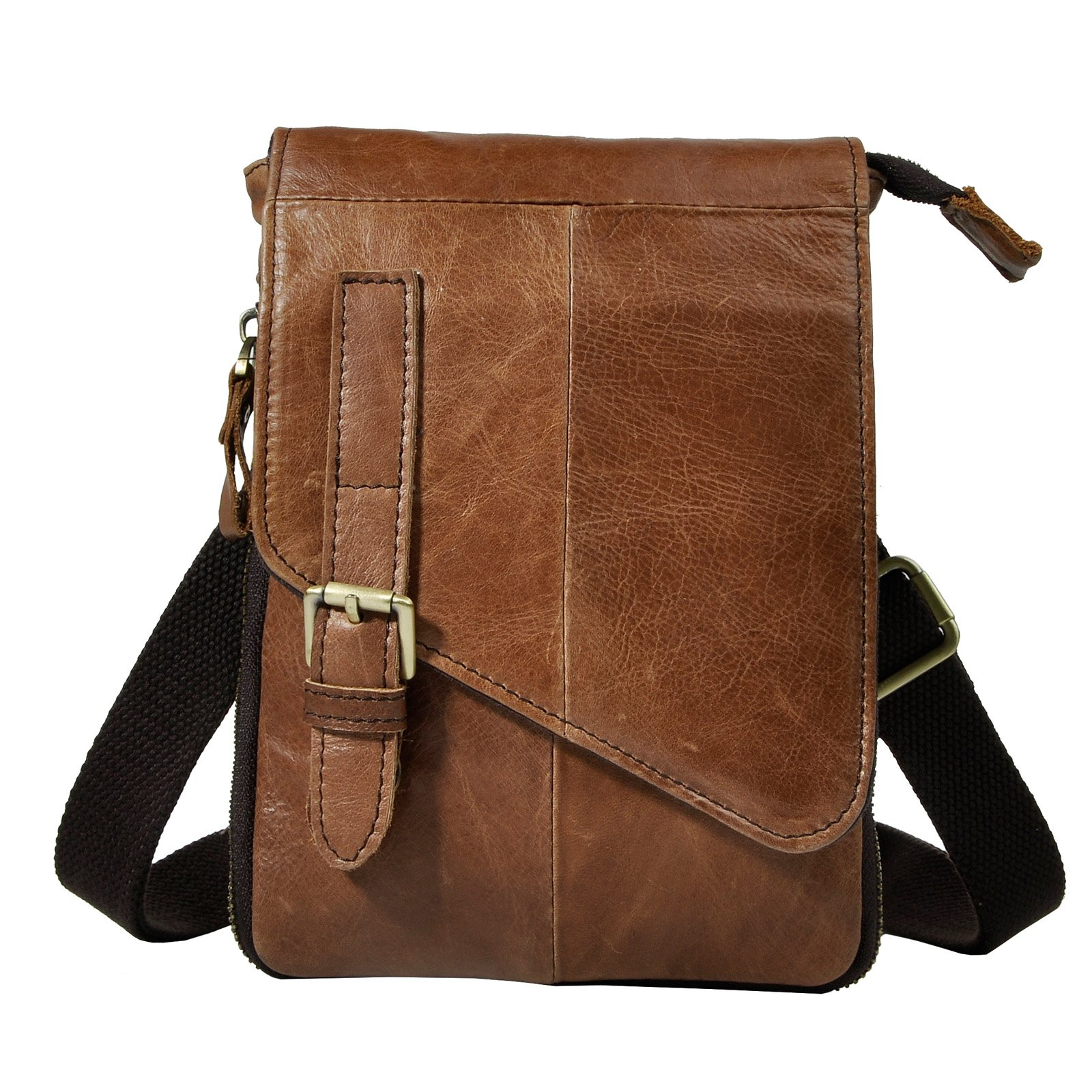 Le'aokuu Mens Genuine Leather Coffee Fanny Small Messenger Shoulder Waist Bag Pack (The 611-6 light brown)