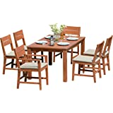 BackYard Furniture 6 Seater Luxury FSC Solid Hardwood High Back Dining Set with Thick Cushions