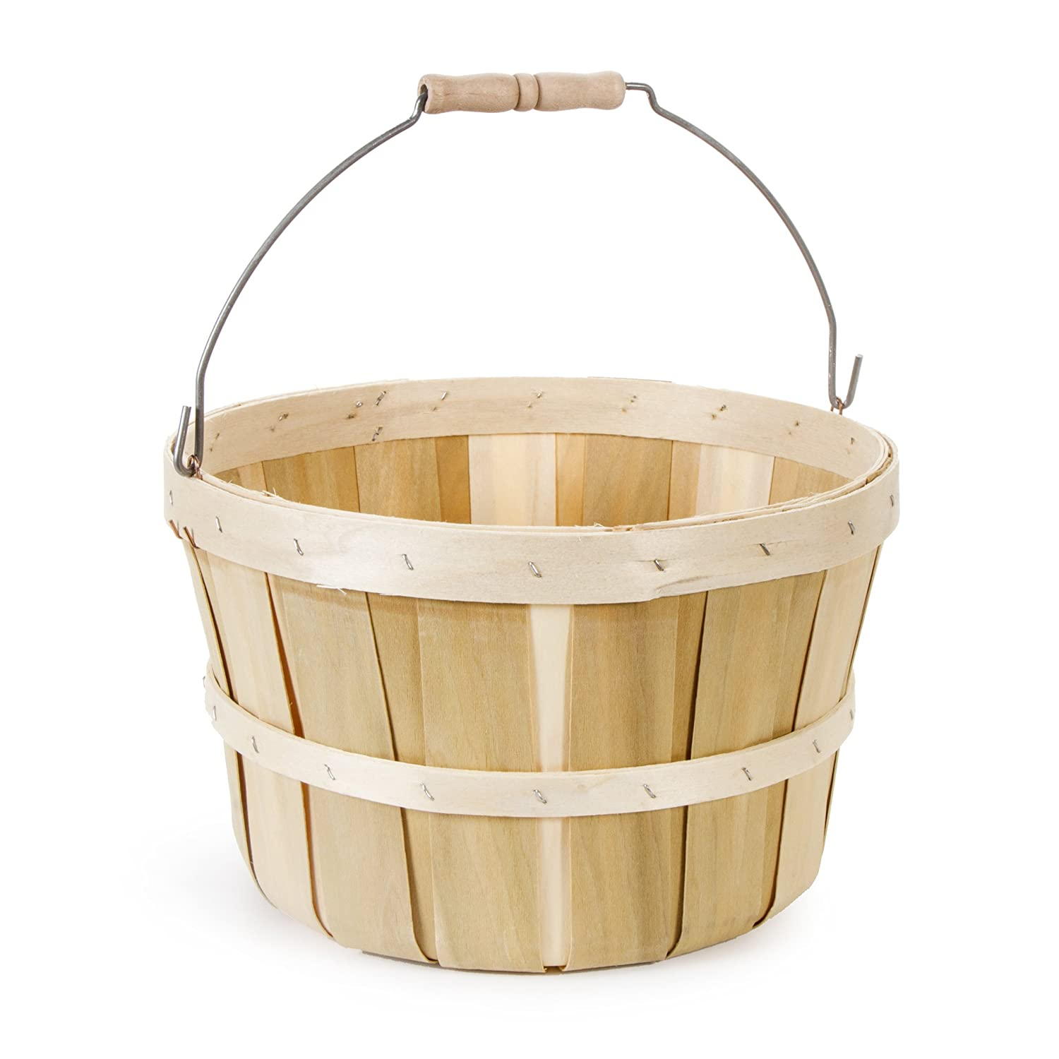 Darice Natural Wood Round Chip Basket with Handle