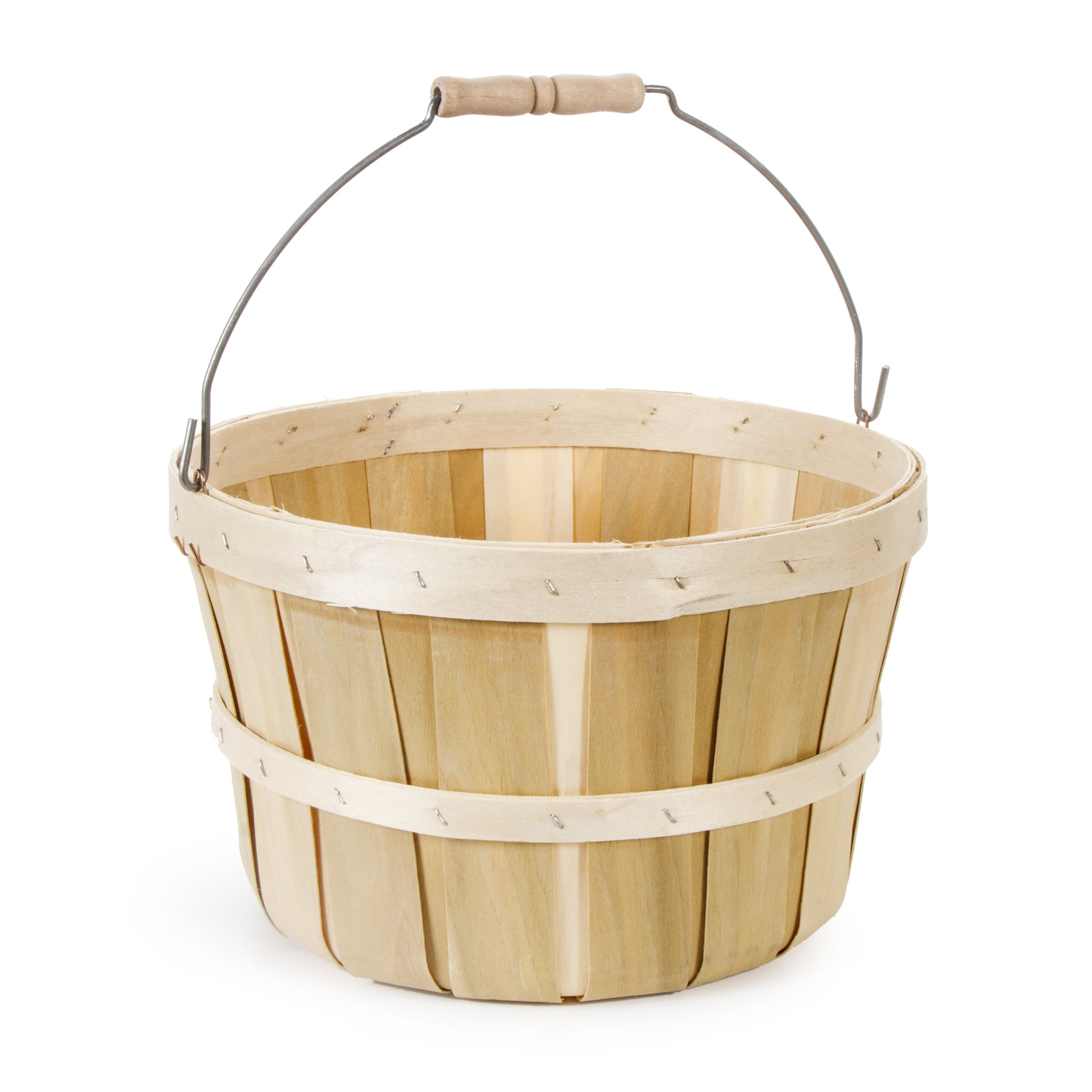 Darice RB1PK Natural Wood Round Chip Basket with Handle by Darice