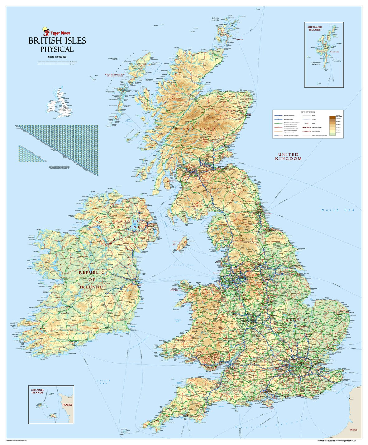 Large British Isles UK Physical Map  Paper Laminated 120 x 100 cm