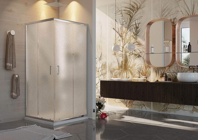 Cabina de ducha angular con 2 puertas correderas de cristal mate 6 ...