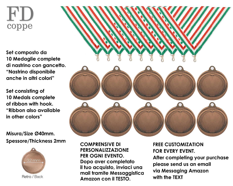fdcoppe Medalla de metal diámetro diámetro 40mm. Juego 10piezas Complete de lazos Ed grabado personalizado incluye en el precio, 2 - ARGENTO AVDISTRIBUTION