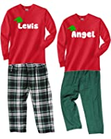 Footsteps Clothing Personalized Christmas Pajamas In Plaid or Swiss Dot Pajama Pants