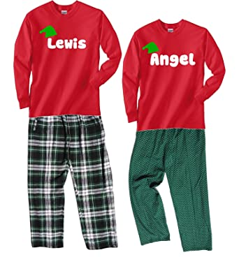 2fe4f84c7b Amazon.com  Footsteps Clothing Personalized Christmas Pajamas In Plaid or  Swiss Dot Pajama Pants  Clothing