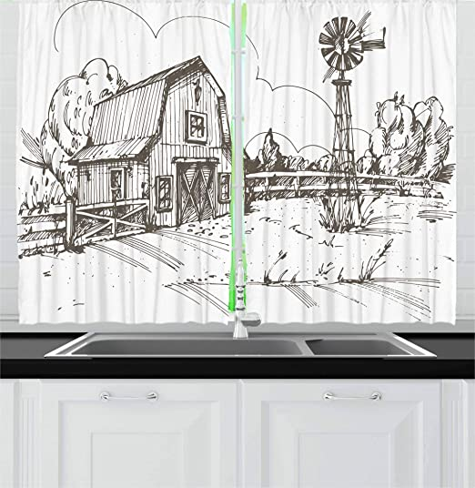 Amazon Com Ambesonne Windmill Kitchen Curtains Rustic Barn Farmhouse Hand Drawn Illustration Countryside Rural Meadow Window Drapes 2 Panel Set For Kitchen Cafe Decor 55 X 39 Taupe Home Kitchen