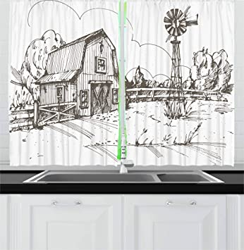 Ambesonne Windmill Kitchen Curtains, Rustic Barn Farmhouse Hand Drawn  Illustration Countryside Rural Meadow, Window Drapes 2 Panel Set for  Kitchen ...