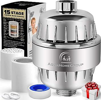 AquaHomeGroup Filtro de Agua para la Ducha de 15 Etapas con Vitamina C - Filtro para Ducha Alta Presion para Eliminar Cloro y Fluoruro - 2 Cartuchos incluidos - Filtro Ducha Antical: