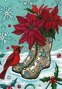 Toland Home Garden Poinsettia Boots 28 x 40 Inch Decorative Christmas Flower Winter Snow Cardinal Bird House Flag