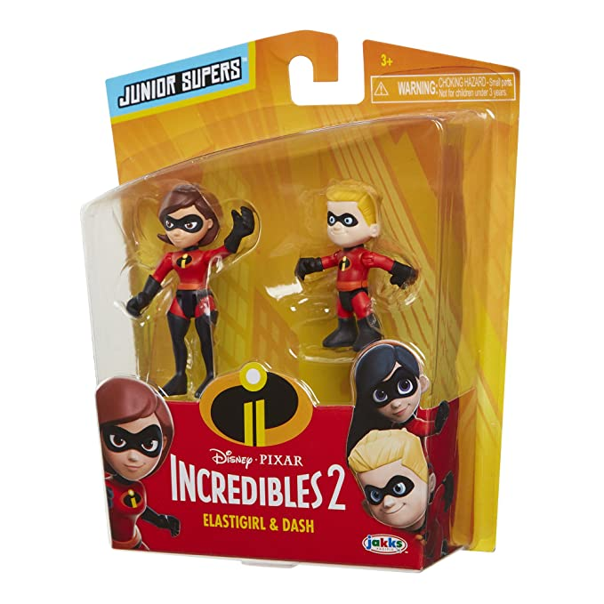 a5f223672e7 Amazon.com: The Incredibles 2 Elastigirl & Dash Junior Supers Action Figure  2-Pack, Approximately 3