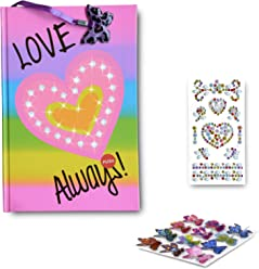 SMITCO Light Up Diary - 5, 6, 7, 8, 9, 10 Year Old Girls Journal with Lined Pages and Stickers