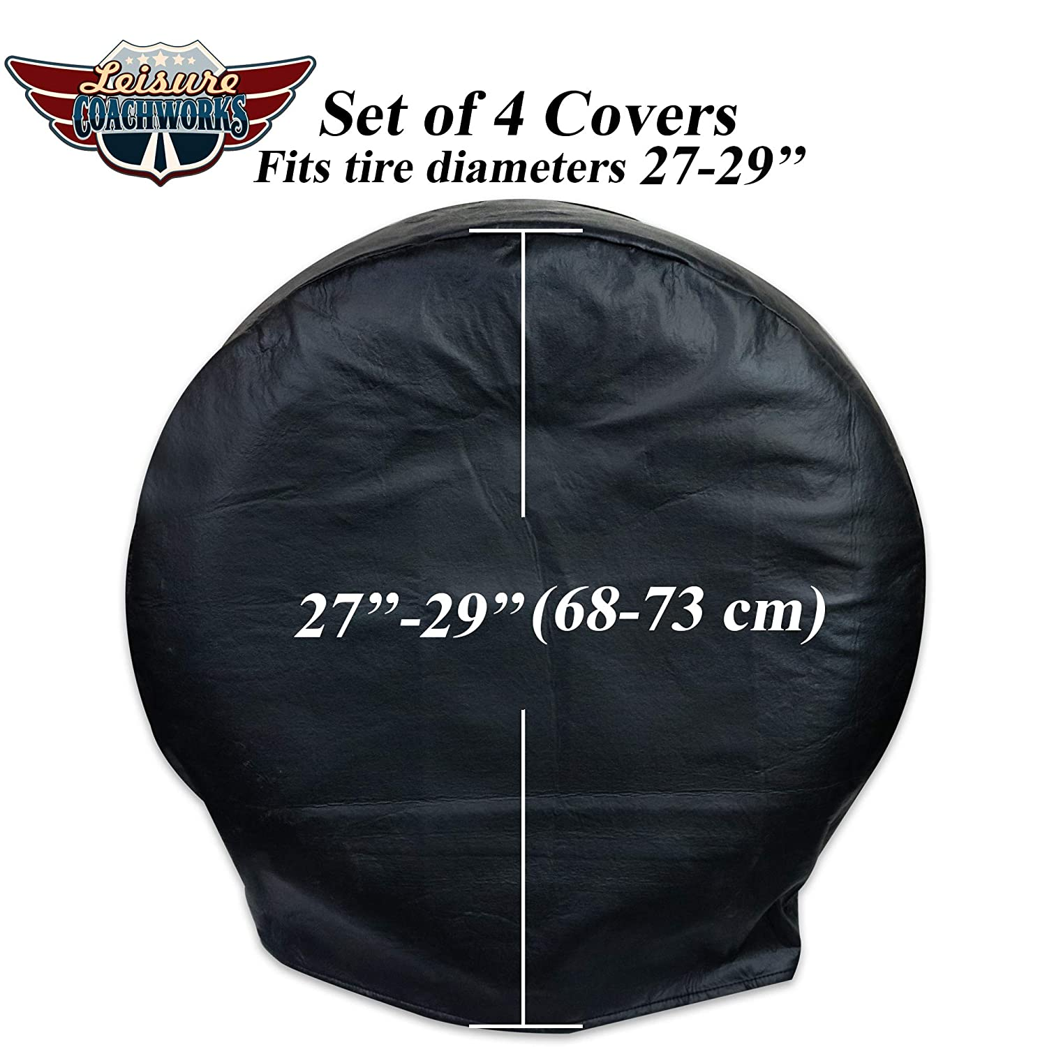 Leisure Coachworks Tire Covers for RV Wheel Set of 4 White Motorhome Wheel Covers Waterproof Soft Vinyl Tire Protectors Tire Covers Size 33 to 35 Tire Diameters