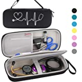 BOVKE Travel Case for 3M Littmann Classic III, Lightweight II S.E, Cardiology IV Diagnostic, MDF Acoustica Deluxe Stethascopes - Extra Room for Taylor Percussion Reflex Hammer and Penlight, Black