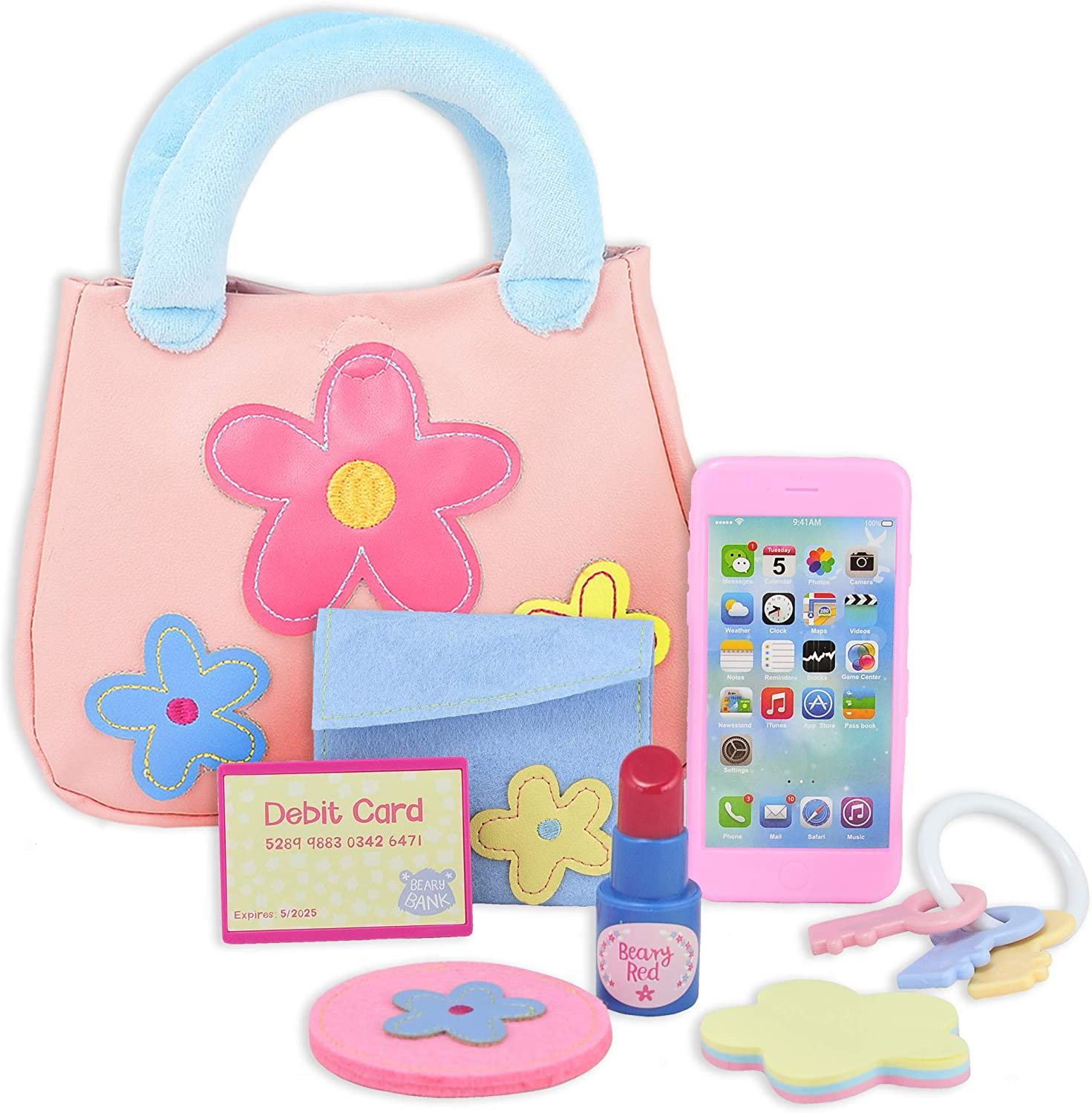 Great Pretend Play Toy for Toddler and Little Girls Ages 1 2 3 4 Years Old Storybook Includes Purse and Accessories My Beary First Purse 9-Piece Gift Set