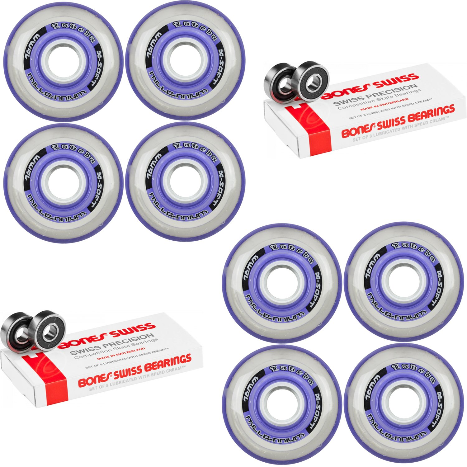 Labeda Millennium Gripper Purple Hockey Inline Wheels 76mm X-SOFT 8 Pack Swiss by Labeda