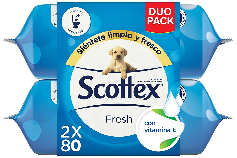 Scottex Fresh Duo Papel Higiénico Húmedo - 160 Toallitas: Amazon.es: Amazon Pantry