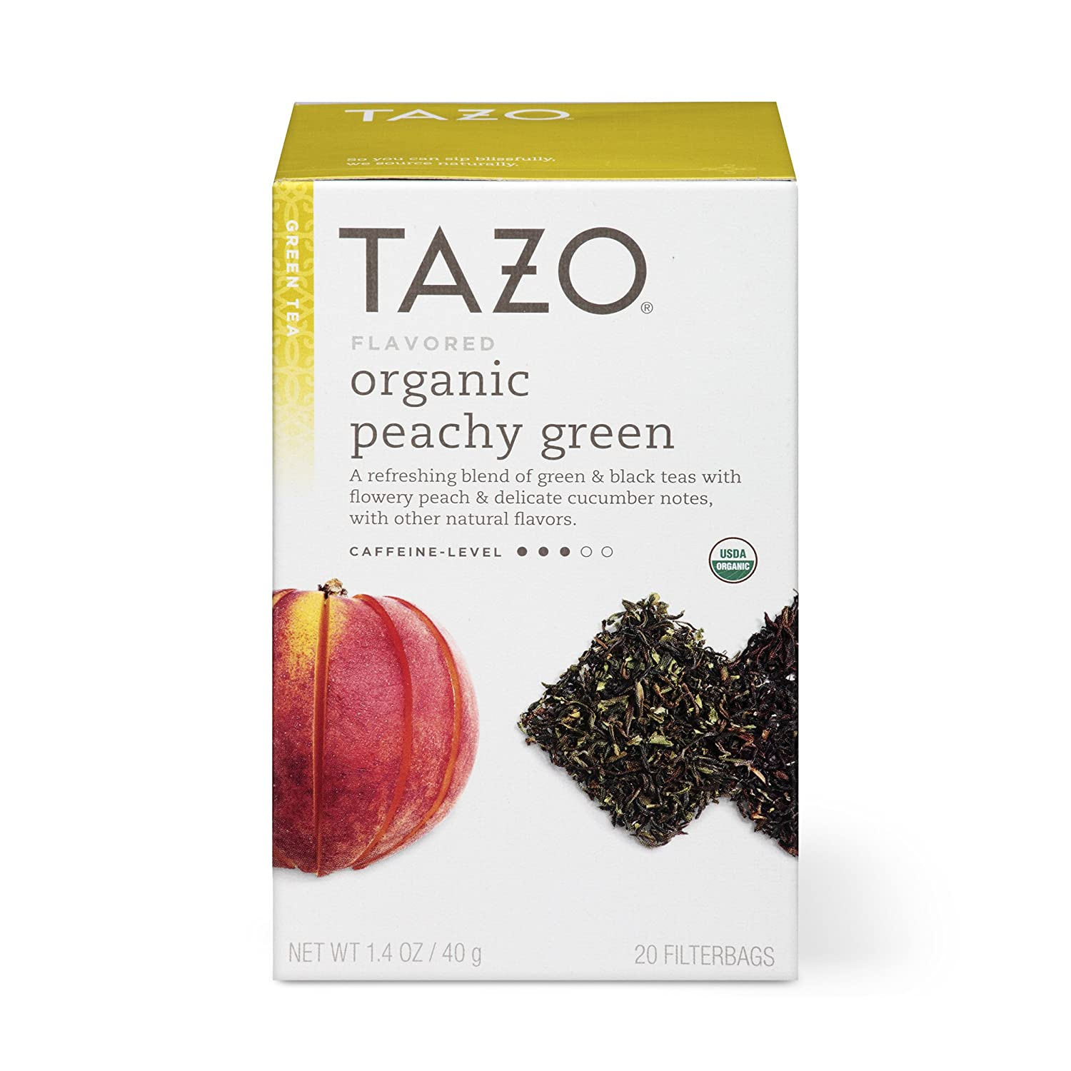 Tazo Organic Peachy Green Tea Filterbags, 20 Count (Pack of 6)