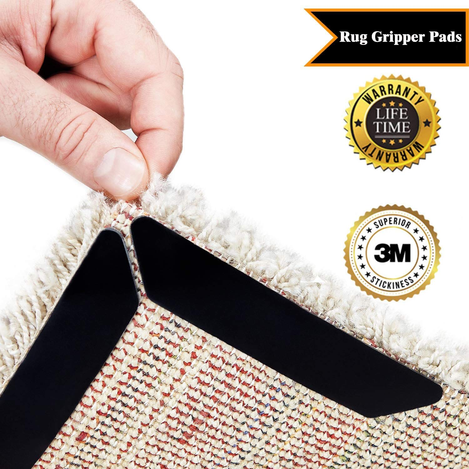 Rug Grippers, 8 pcs Black/White Anti Curling Rug Gripper, Anti Slip Straight Carpet Gripper for Corners and Edges - Anti Slip Rug Pad for Rugs - Ideal Rug Stopper For Kitchen | Bathroom (Black)