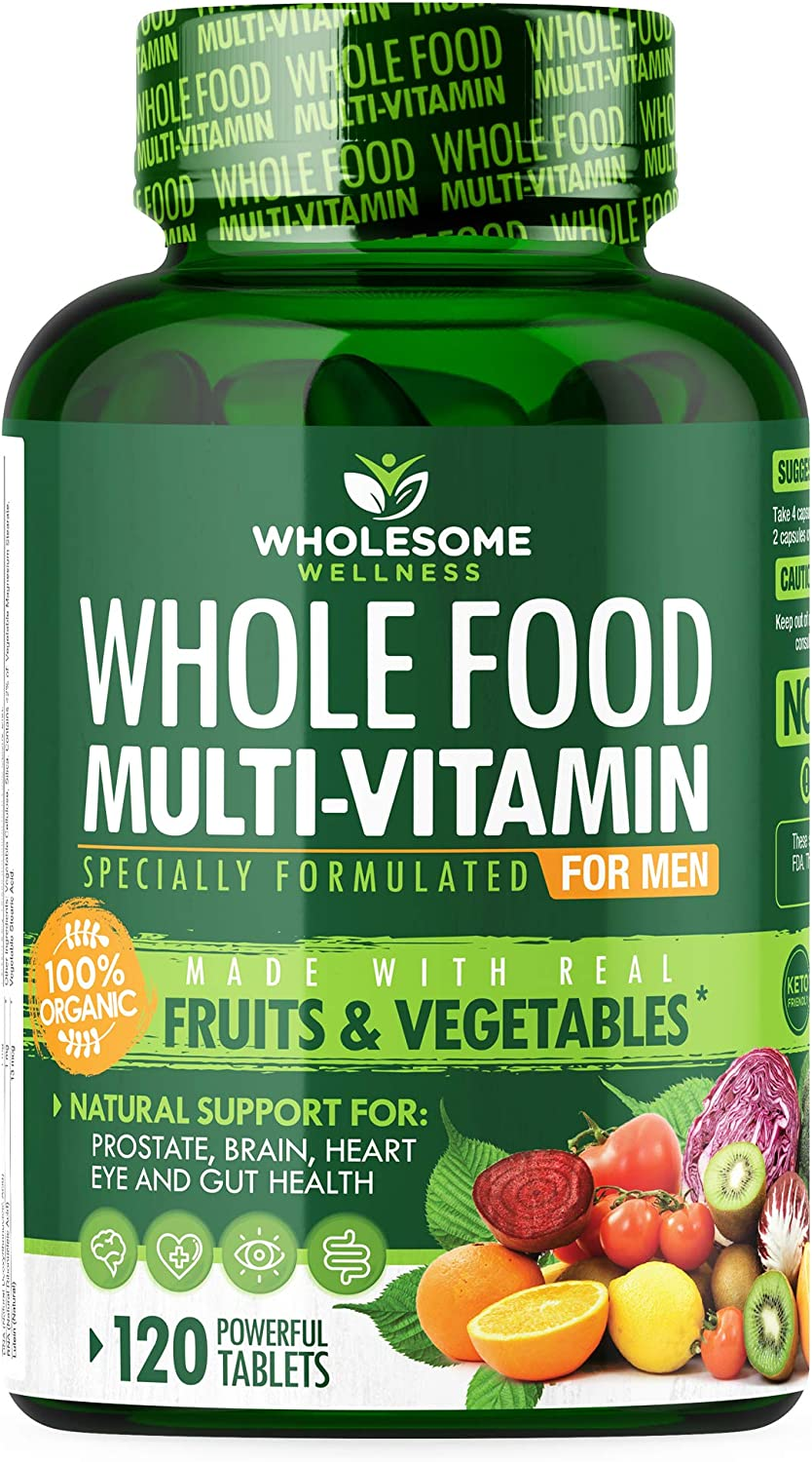 Whole Food Multivitamin for Men 120 Tablets – Natural Multi Vitamins, Minerals, Organic Extracts – Vegan Vegetarian – Best for Daily Energy, Brain, Heart, Eye Health