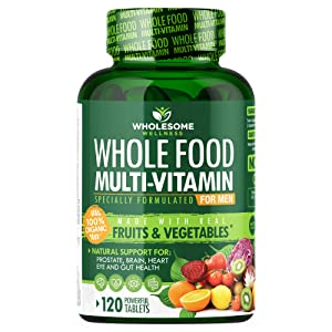 Whole Food Multivitamin for Men (120 Tablets) - Natural Multi Vitamins, Minerals, Organic Extracts - Vegan Vegetarian - Best for Daily Energy, Brain, Heart, Eye Health