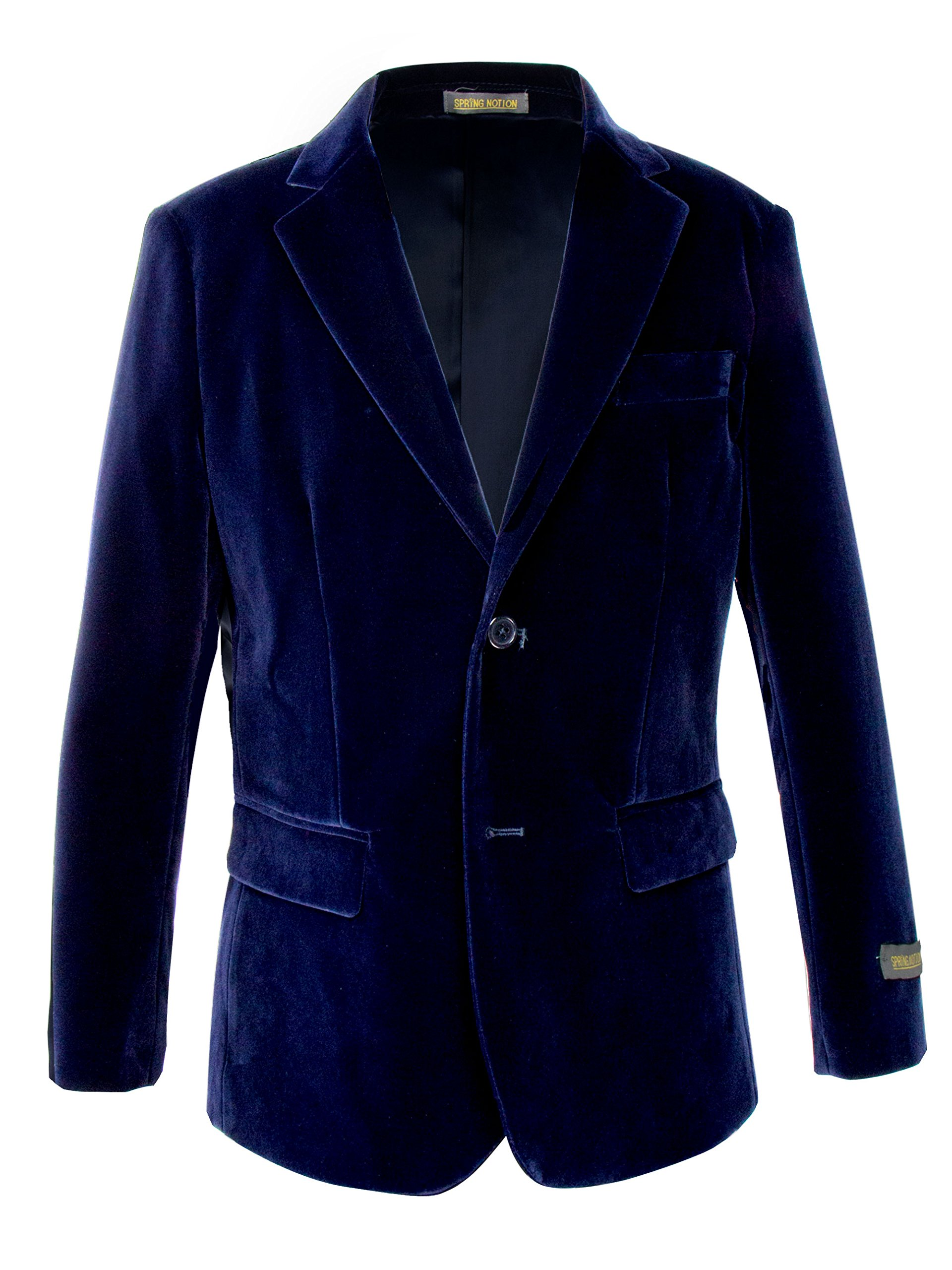 Spring Notion Big Boys' Velvet Blazer 12 Midnight Blue